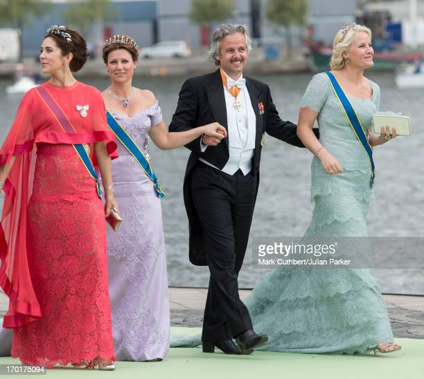 Crown Princess Mary of Denmark with Crown Princess MetteMarit of Norway Ari Behn and Princess Martha Louise leaves for Drottningholm Palace after the...