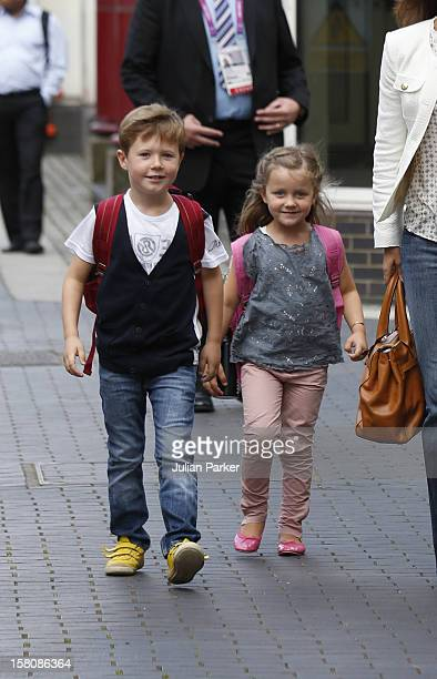 Crown Princess Mary Of Denmark With Her Children Prince Christian And Princess Isabella Arrive At The Royal Yacht Danneborg This Evening After...