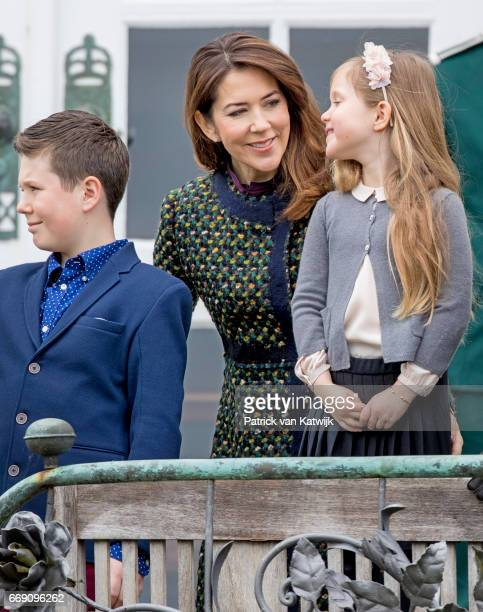 Crown Princess Mary Prince Christian and Princess Josephine attend the 77th birthday celebrations of Danish Queen Margrethe at Marselisborg Palace on...