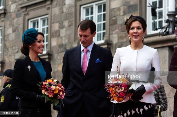 Crown Princess Mary Prince Joachim and Princess Marie seeen at their arrival to the Parliament to October 31 2017 in Copenhagen Denmark