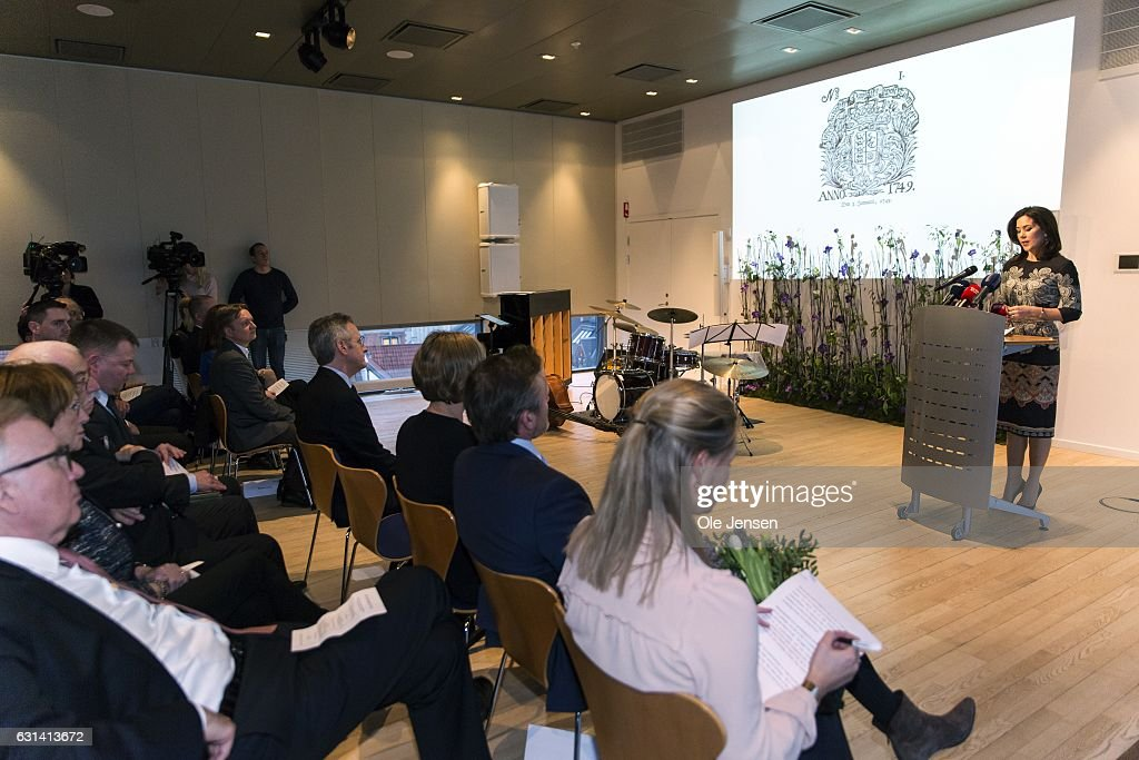 Crown Princess Mary speaks after receiving The Berlingske Foundation's Honorary Award at The Berlingske Media house on January 10, 2017 in Copenhagen, Denmark. Crown Princess Mary receives the honorary award for her 'excellent and consistent work in the service of the Danish society' and in particular her work as protector for and initiator of manifold projects to the benefit of marginalized and vulnerable groups within the society. An important part of her work takes place through The Mary Foundation, which focus area is on isolated children, young vulnerable mothers and violence at home. Berlingske is one of the largest Danish media groups (2 news papers and other print media). The Honorary Award has been given out since 1975. With the award follows 100.000 DKK (13.400 EUR).