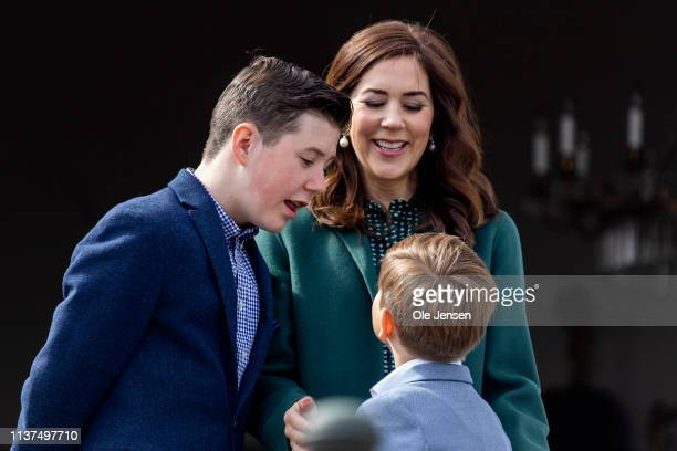 Crown Princess Mary together with Prince Vincent and Prince Christian at the veranda on Marselisborg Castle during changing of the guard on the...