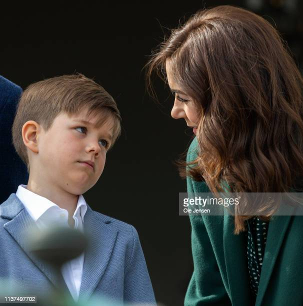 Crown Princess Mary together with Prince Vincent at the veranda on Marselisborg Castle during changing of the guard on the occasion of the 79 years...