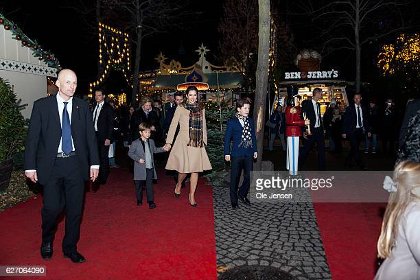 Crown Princess Mary with children Prince Christian and Prince Vincent Princess Josephine arrive to the premiere of the Tarkovsky 'The Nutcracker'...