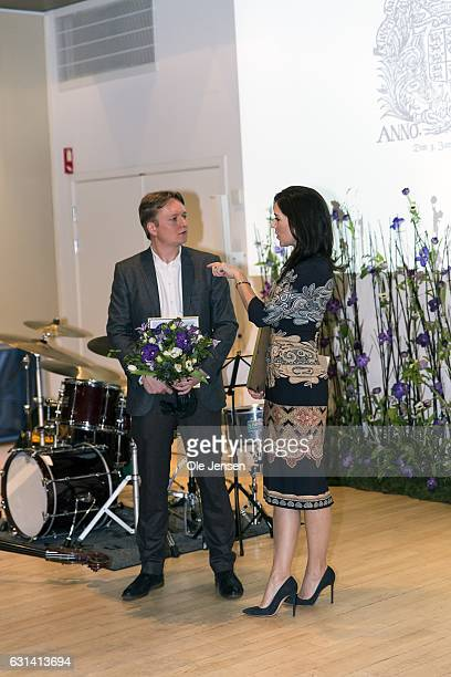 Crown Princess Mary with her Honorary Award given for her work with social vulnerable groups and journalists Simon Kruse who was awarded for his...