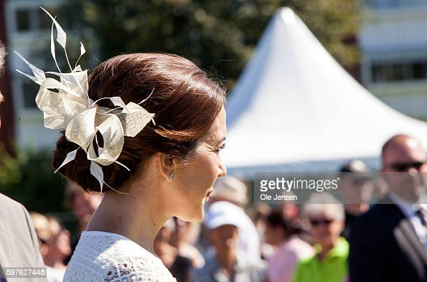 Crown Princess Mary's headgearduring her visit to the city of Glostrup's 850 year anniversary in Denmark on August 27 2016