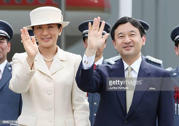 Crown Princess Masako and Crown Prince Naruhito see off Emperor Akihito and Empress Michiko departing for Canada at Tokyo International Airport on...