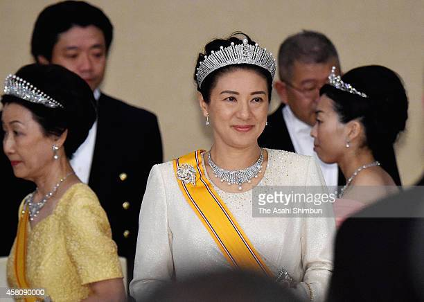 Crown Princess Masako attends a state dinner for King WillemAlexander and Queen Maxima of the Netherlands at the Imperial Palace on October 29 2014...