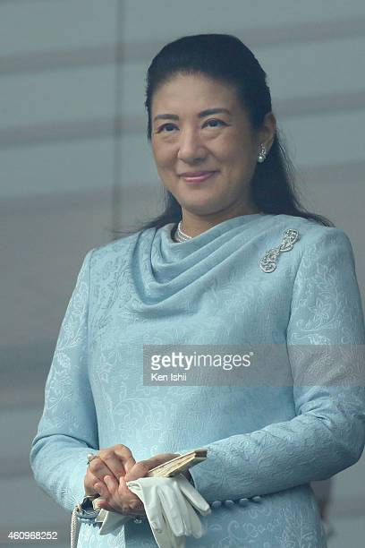 Crown Princess Masako attends the celebration for the New Year on the veranda of the Imperial Palace on January 2 2015 in Tokyo Japan