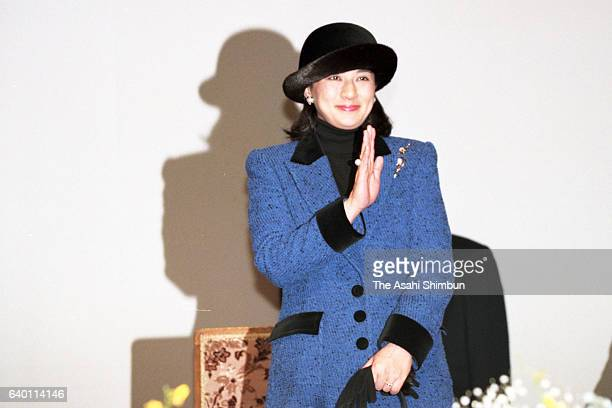 Crown Princess Masako attends the opening ceremony of the Winter National Athletic Festival at Otaru City Gymnasium on February 18 1999 in Otaru...