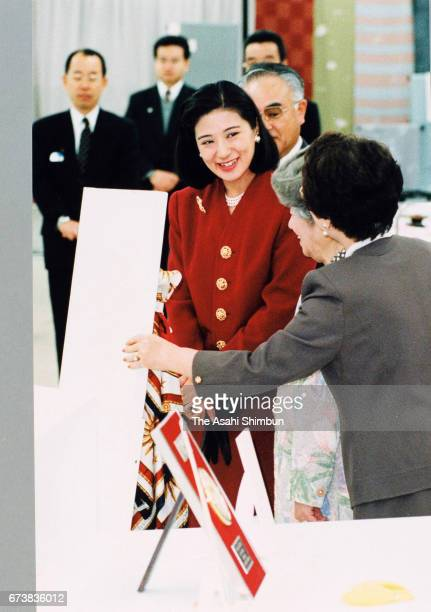 Crown Princess Masako attends the Women's Invention Exhibition at Keio Department Store on March 3 1997 in Tokyo Japan