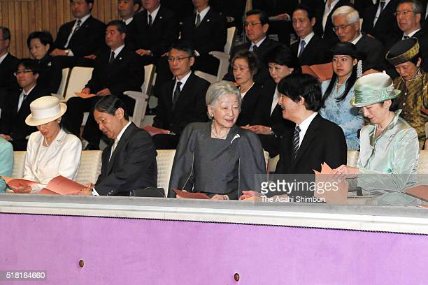 Crown Princess Masako Corwn Prince Naruhito Empress Michiko Prince Akishino Princess Kiko of Akishino Princess Hisako and Princess Tsuguko of...