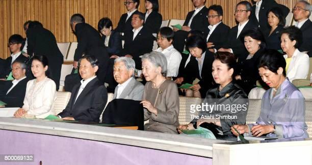 Crown Princess Masako, Crown Prince Naruhito, Emperor Akihito, Empress Michiko, Princess Nobuko of Mikasa and Princess Hisako of Takamado attend a...