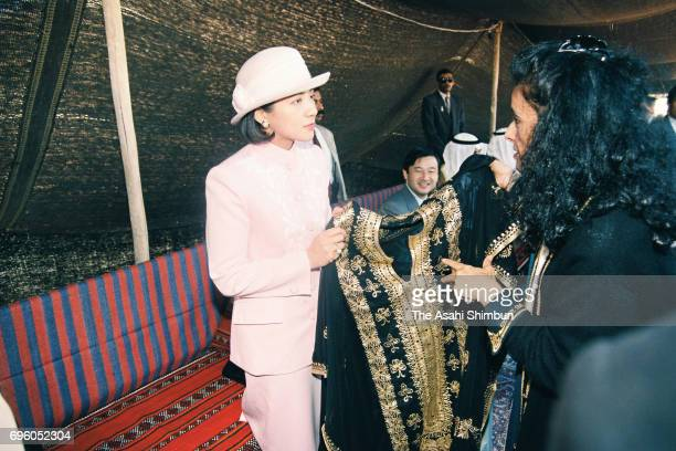 Crown Princess Masako is presented a traditional clothes at Sadu House on January 22 1995 in Kuwait City Kuwait