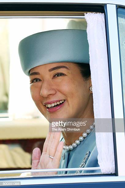 Crown Princess Masako is seen on arrival at the Imperial Palace to greet Emperor and Empress on her 52th birthday on December 9 2015 in Tokyo Japan