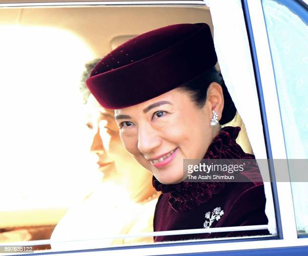 Crown Princess Masako is seen on arrival to attend a greeting session at the Imperial Palace celebrating Emperor Akihito's 84th birthday on December...