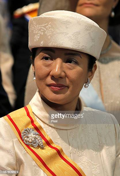 Crown Princess Masako of Japan during the inauguration ceremony of King Willem Alexander and Queen Maxima of the Netherlands at New Church on April...