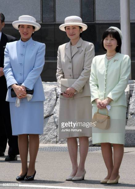 Crown Princess Masako Princess Kiko and Princess Sayako wait for the Emperor Akihito and Empress Michiko to arrive at Tokyo International Airport on...