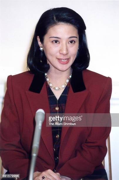 Crown Princess Masako speaks during a press conference ahead of her 34th birthday at Togu Palace on December 5 1997 in Tokyo Japan