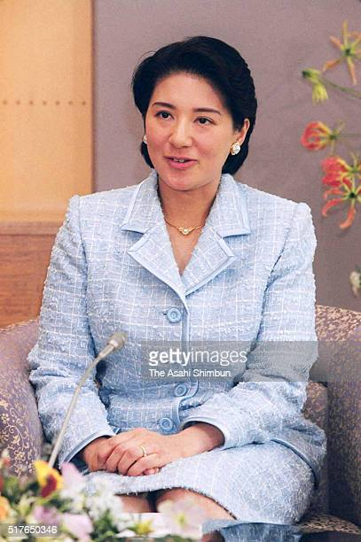 Crown Princess Masako speaks during a press conference on daughter Princess Aiko at the Togu Palace on April 2 2002 in Tokyo Japan