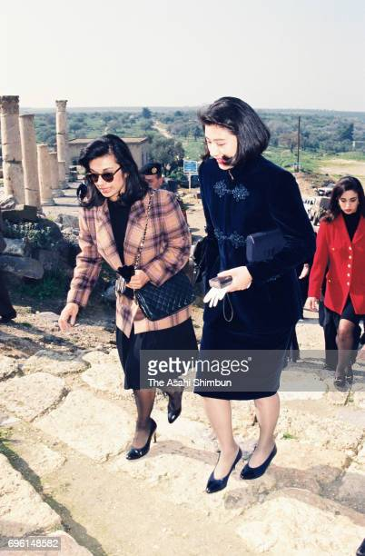 Crown Princess Masako talks with Princess Sarvath alHassan of Jordan at Umm Qays archaeological site on January 27 1995 in Umm Qays Jordan