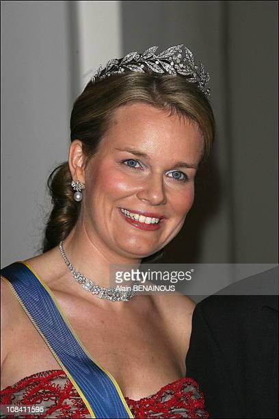 Crown princess Mathilde of Belgium in Stockholm, Sweden on April 30, 2006.