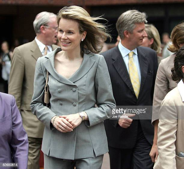 Crown Princess Mathilde of Belguim and Crown Prince Philippe of Belgium walk through the streets after visiting Georgetown University April 19, 2005...