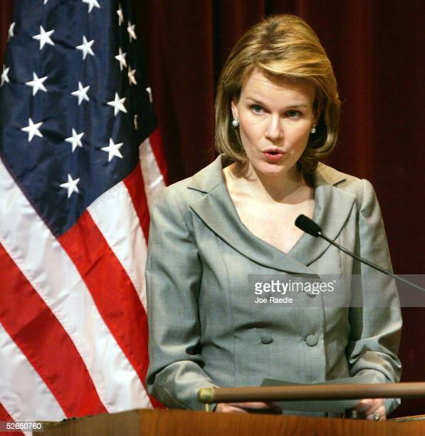 Crown Princess Mathilde speaks at Georgetown University April 19, 2005 in Washington, DC. Princess Mathilde spoke about the UN initiative for...