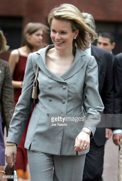Crown Princess Mathilde walks through the streets after visiting Georgetown University April 19, 2005 in Washington, DC. The Princess spoke at the...