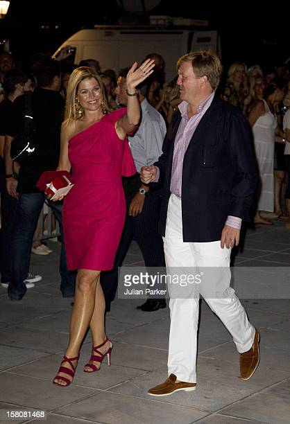 Crown Princess Maxima, And Crown Prince Willem Alexander Of Holland Attend A Cocktail Party At The Poseidonion Hotel, In Spetses, Greece, On The Eve...