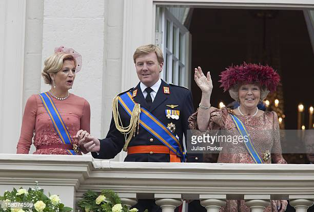 Crown Princess Maxima, Crown Prince Willem Alexander Of Holland, And Queen Beatrix Of Holland, Appear On The Balcony Of Noordeinde Palace, In Den...