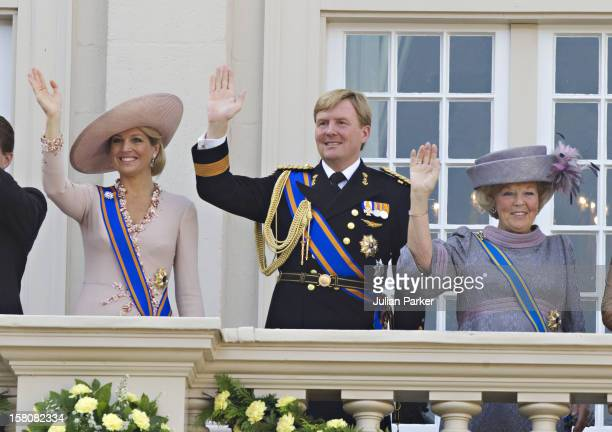 Crown Princess Maxima Crown Prince Willem Alexander Of Holland And Queen Beatrix Of Holland Appear On The Balcony Of Noordeinde Palace In Den Haag On...