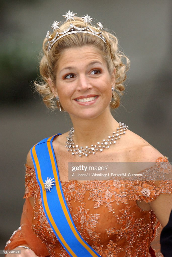 Crown Princess Maxima Of Holland At The Wedding Of Princess Martha Louise Of Norway And Ari Behn In Trondheim.