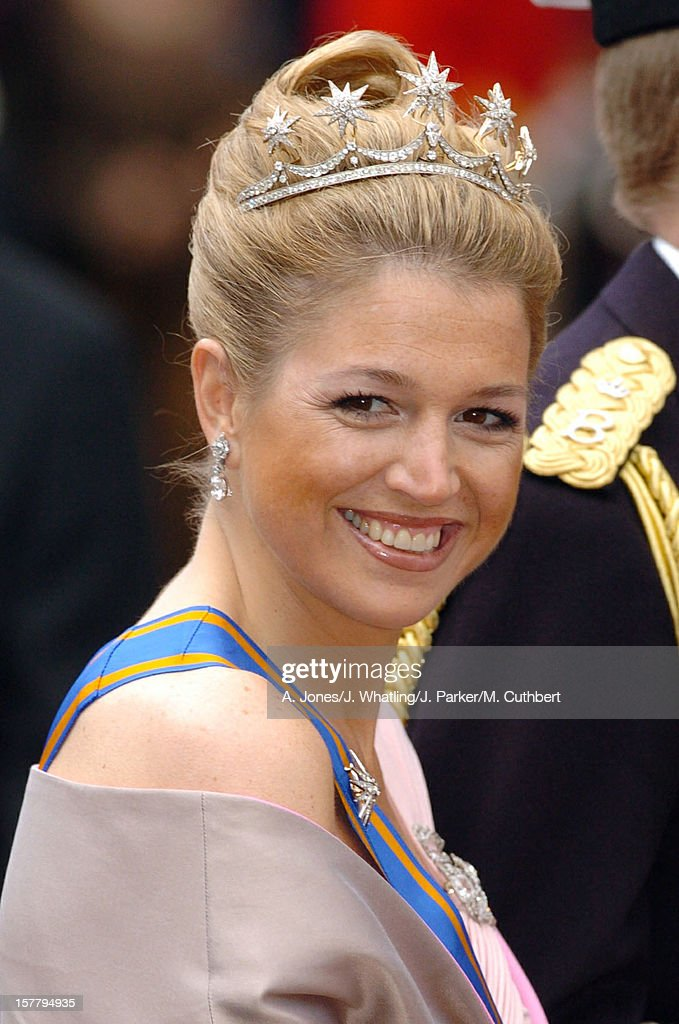 Crown Princess Maxima Of Holland Attends The Wedding Of Crown Prince Frederik & Mary Donaldson At The Vor Frue Kirke Catherdal In Copenhagen.