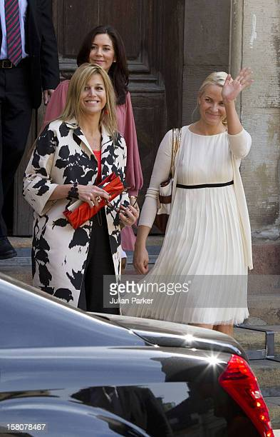 Crown Princess Maxima Of Holland Crown Princess Mary Of Denmark And Crown Princess MetteMarit Of Norway Leave Storkyrkan Stockholm'S Cathedral After...