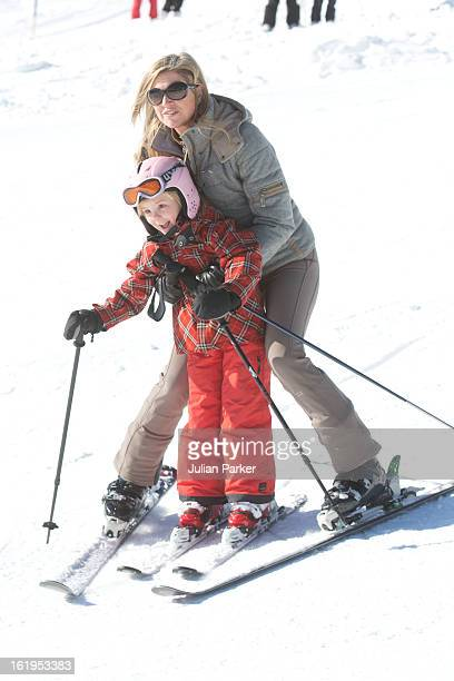 Crown Princess Maxima of Holland, with her daughter Princess Ariane, pose for photographs during thier annual winter skiing holiday, on February 18,...
