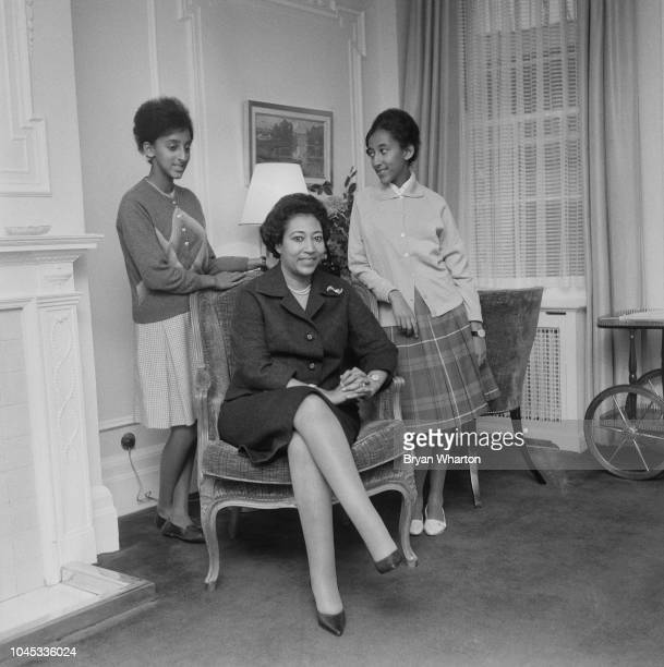 Crown Princess Medferiashwork Abebe of Ethiopia pictured with her daughters Princess Maryam Senna and Princess Sehin Azebe in England on 12th...