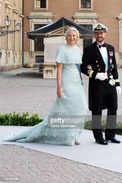 Crown Princess Mette Marit and Crown Prince Haakon attend the wedding of Princess Madeleine of Sweden and Christopher O'Neill hosted by King Carl...