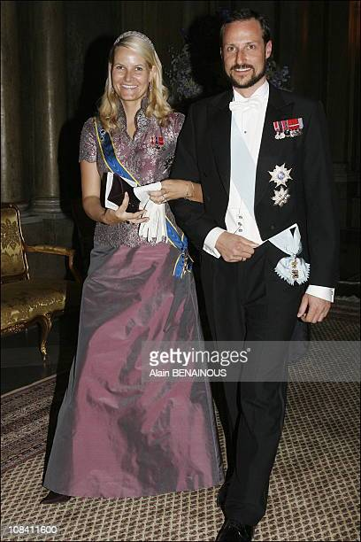 Crown princess Mette Marit and Crown Prince Haakon of Norway in Stockholm, Sweden on April 30, 2006.