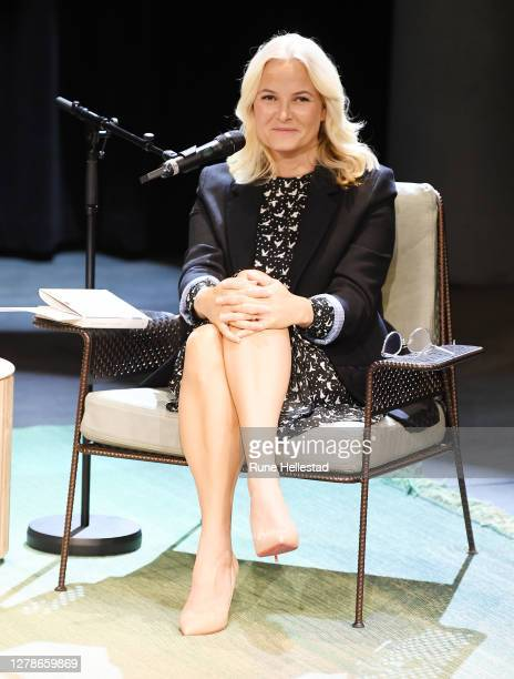Crown Princess Mette- Marit attends a talk between herself and author Geir Gulliksen At Deichman Bjorvika on October 5, 2020 in Oslo, Norway. .