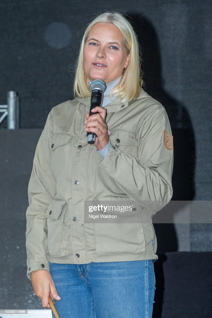 Crown Princess Mette Marit delivers her opening speech to the local residents during her visit to the Mortensrud Festival on September 9, 2018 in Oslo, Norway.