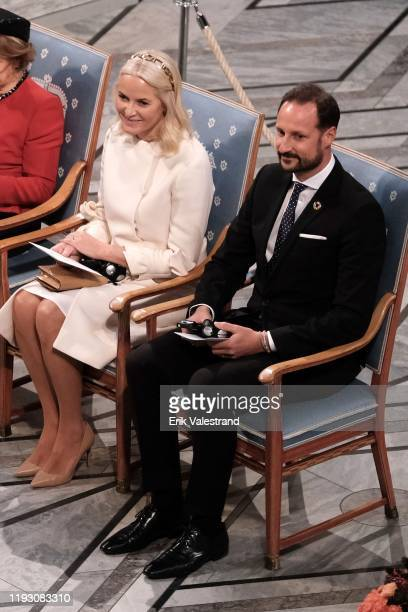 Crown Princess Mette Marit of Norway and Crown Prince Haakon of Norway attend the Nobel Peace Prize ceremony 2019 at Oslo City Town Hall on December...