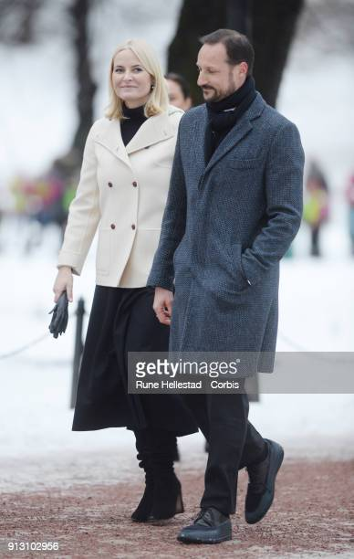 Crown Princess Mette Marit of Norway and Crown Prince Haakon of Norway visit the Princess Ingrid Alexandra Sculpture Park on day 3 of the Duke and...