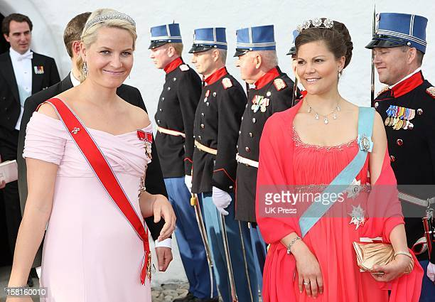 Crown Princess Mette Marit Of Norway And Crown Princess Victoria Of Sweden Attend The Wedding Of Prince Joachim Of Denmark And Miss Marie Cavallier...