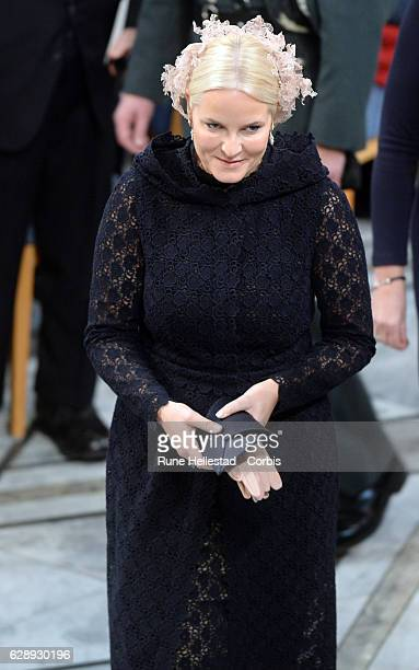Crown Princess Mette Marit of Norway attends the Nobel Peace Prize ceremony at Oslo City Town Hall on December 10, 2016 in Oslo, Norway.