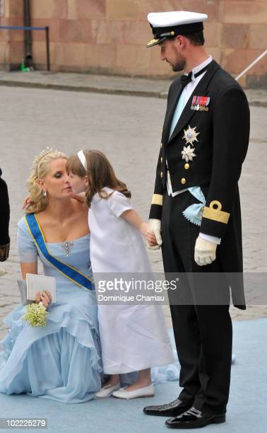 Crown Princess Mette Marit of Norway Crown Prince Haakon of Norway and daughter Princess IngridAlexandra attend the wedding of Crown Princess...
