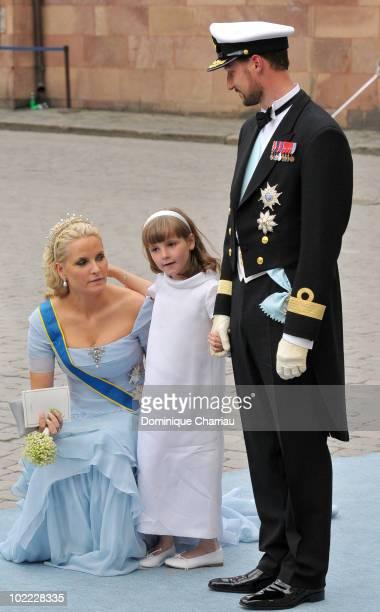 Crown Princess Mette Marit of Norway, Crown Prince Haakon of Norway and daughter Princess Ingrid-Alexandra attend the wedding of Crown Princess...