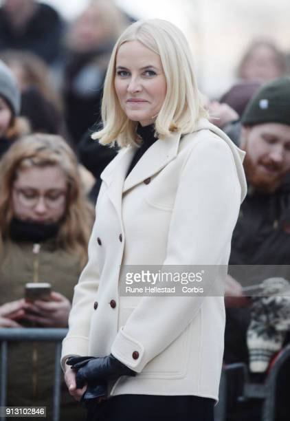 Crown Princess Mette Marit of Norway visits the Princess Ingrid Alexandra Sculpture Park on day 3 of the Duke and Duchess of Cambridge's visit to...