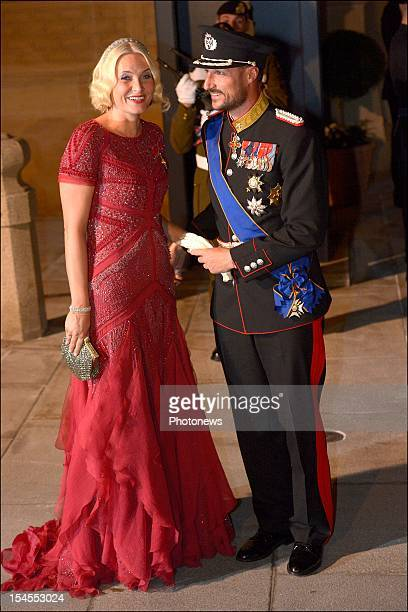 Crown Princess Mette-Marit and Crown Prince Haakon of Norway arrive at the Gala Dinner for the wedding of Prince Guillaume Of Luxembourg and...