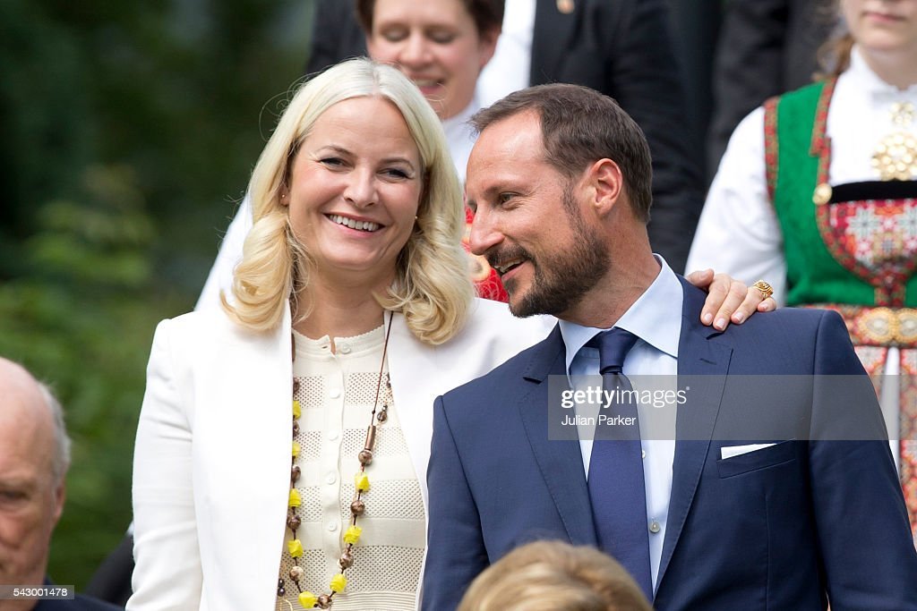 Crown Princess Mette-Marit, and Crown Prince Haakon of Norway attend a Garden Party at the Royal Residence of Gamlehaugen, on a visit to Bergen, during the King and Queen of Norway's Silver Jubilee Tour, on June 25, 2016 in Bergen, Norway.